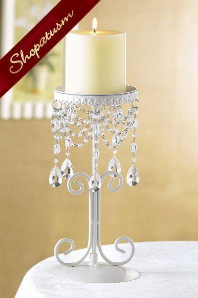 Elegant Ivory Crystal Bead Candle Holder Centerpiece