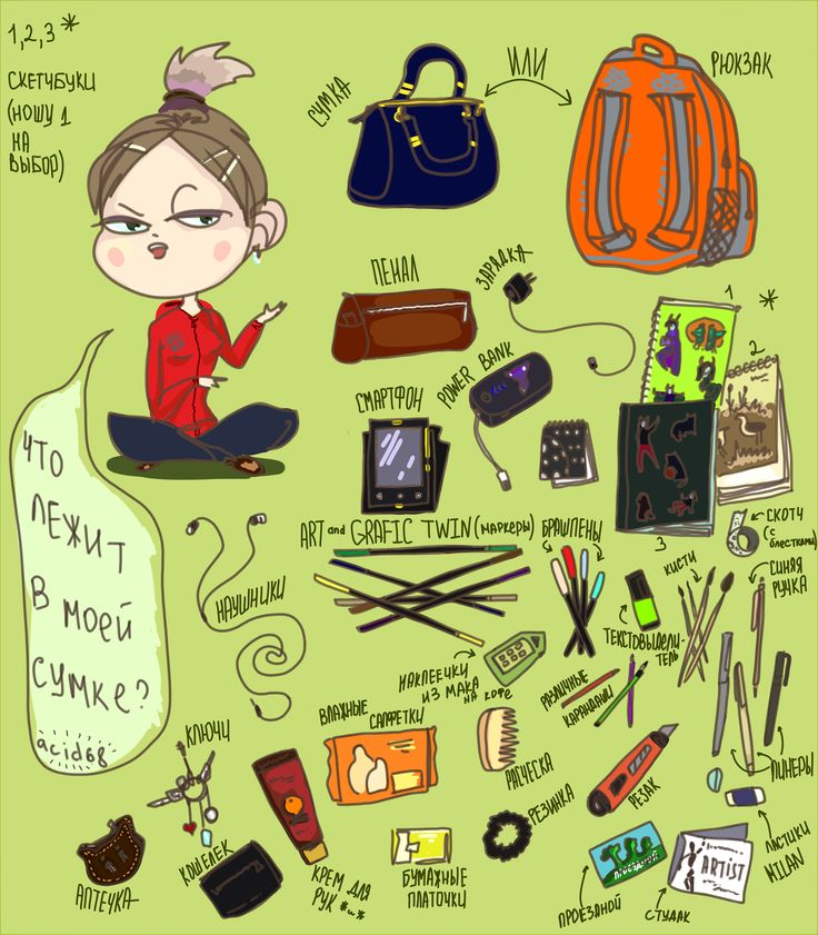 """Что в моей сумке?"" (What's in my bag?) 2016  #mybag #pretty #challenge #me #girl #nice #art #digital #russianart #artist #acid68 #russian #sketch"