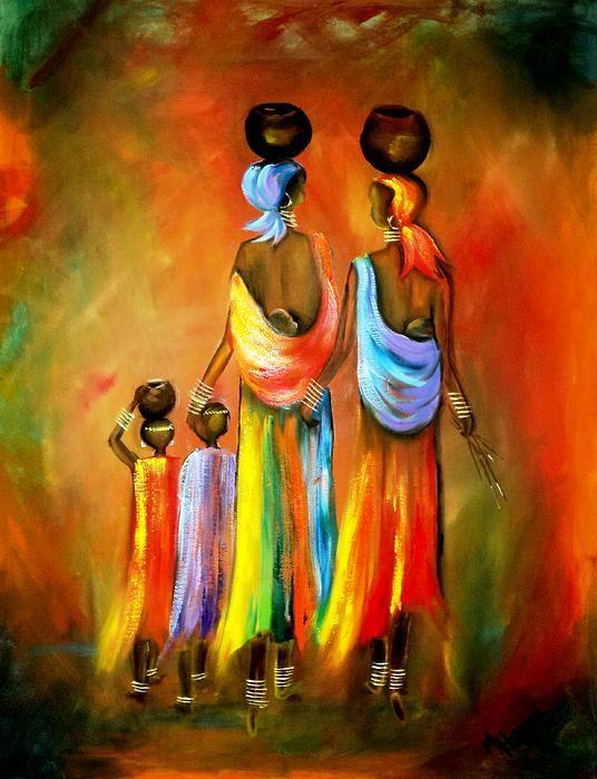 2 African women & 2 children