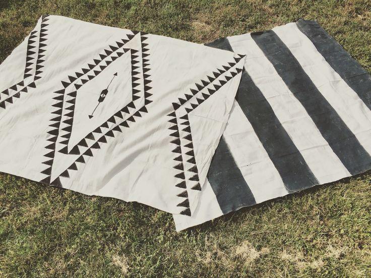 DIY rug. Drop cloth rug. Aztec rug. Hand painted rug