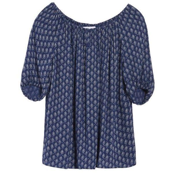 Women's Velvet By Graham & Spencer Print Gauze Peasant Top (2.020 ARS) ❤ liked on Polyvore featuring tops, blouses, kibo multi, short sleeve tops, print blouse, blue top, blue short sleeve top and short sleeve blouse