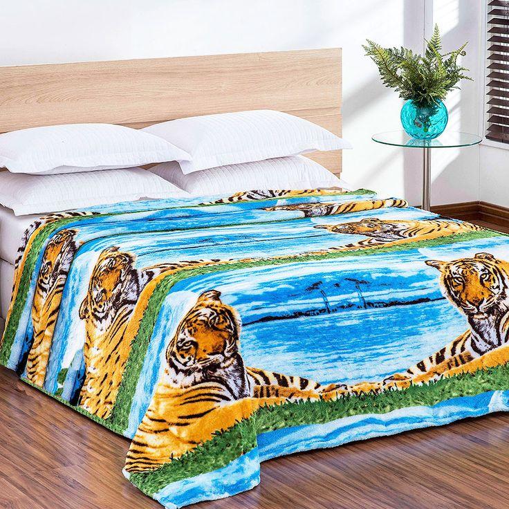 Cobertor / Manta Microfibra Maya Animal Print Tigre Azul - Casa Baher