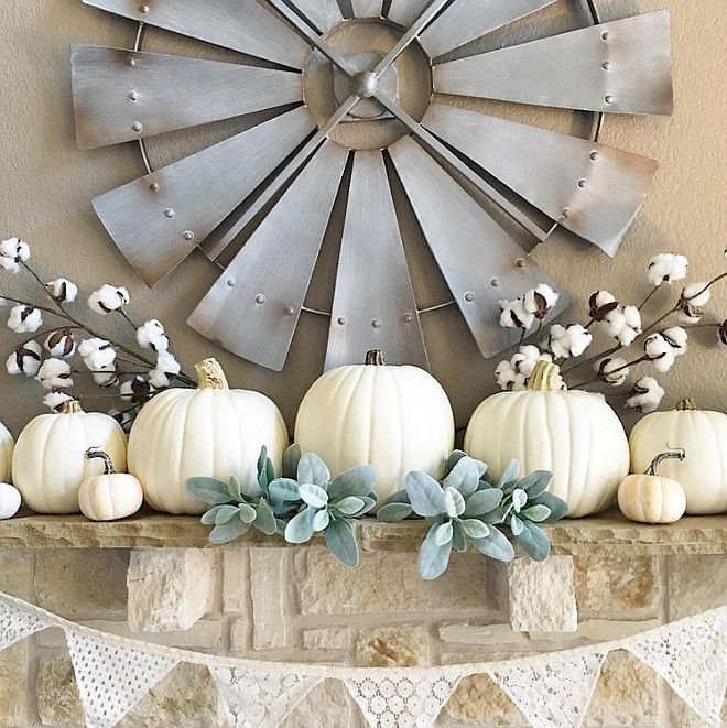 white pumpkin fall mantel thedowntownaly via instagram - Pumpkin Decor