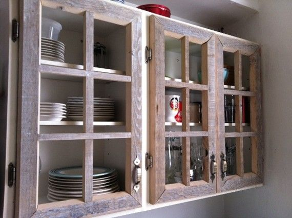 rugged looking cabinets maybe use old windows with glass cut the frames to fit - Kitchen Cabinets Frames