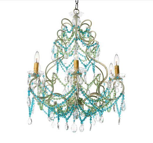 Love this 'Beach Florentine' jeweled chandelier!