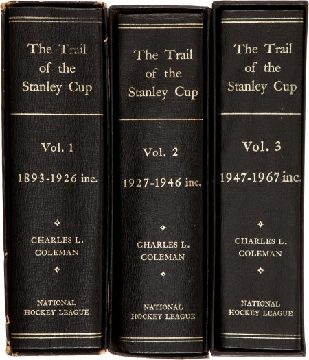 """""""The Trail of the Stanley Cup"""" three-volume set, with books I and II signed by NHL president Clarence Campbell."""