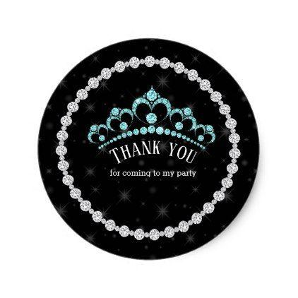 Sparkling Diamond Tiaras - choose your background Classic Round Sticker - wedding cyo special idea weddings