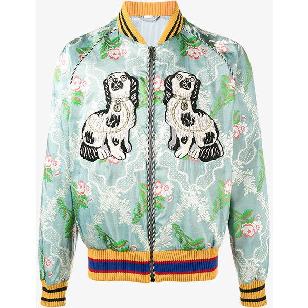 Gucci Blue Embroidered bomber jacket (43.565.460 IDR) ❤ liked on Polyvore featuring men's fashion, men's clothing, men's outerwear, men's jackets, blue, mens collarless jacket, men's embroidered bomber jacket, mens embroidered jacket, mens zipper jacket and mens floral bomber jacket