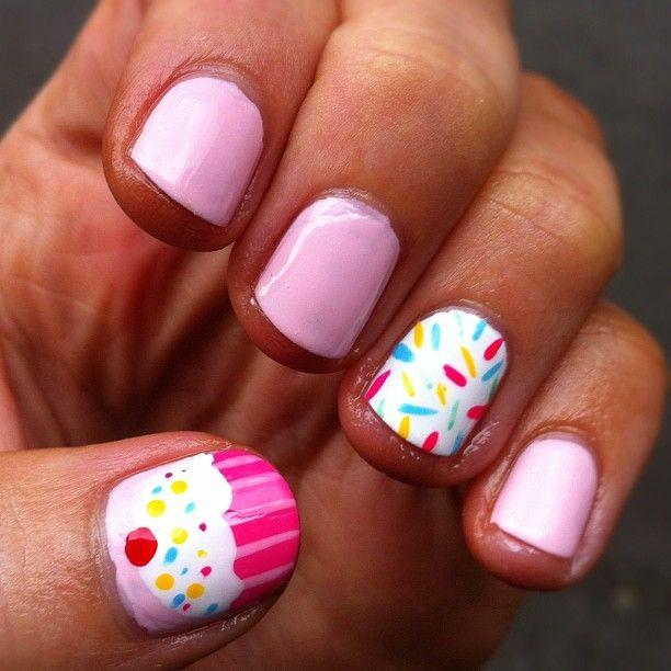 Perfectly Polished: Monday Manicure: Cupcakes & Sprinkles Nail Art.. CUTEE  For when I cosplay pinkie pie!!