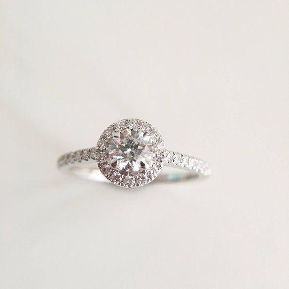 9b3dd8f9d6b73 0.4 Carat Diamond Engagement Ring Diamond Halo Ring White Gold Ring ...