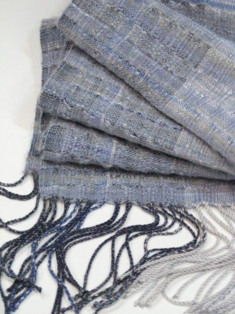 handspun wool, bamboo and baby alpaca on a handpainted silver grey and indigo silk warp. by Margery Meyers Haber, on etsy