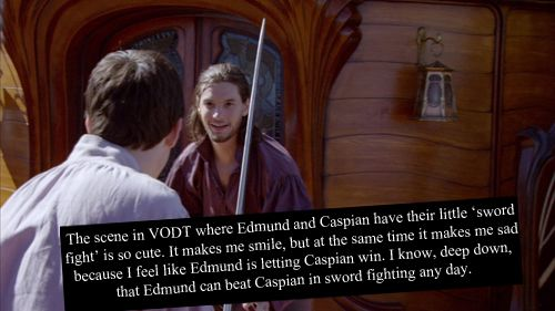 Narnia Confessions. Exactly my thoughts. C'mon! Narnia's greatest sword fighter in the Golden Age not able to beat a Telmarine?