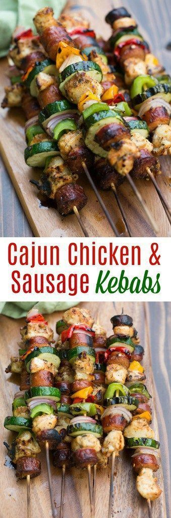 Grilled Cajun Chicken and Sausage Kebabs are packed with bold and spicy cajun flavors. | tastesbetterfromscratch.com
