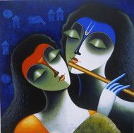 Check out in Painting in Acrylic on Canvas by Santosh Chattopadhyay of price Rs.54000 (36 X 36 Inches)  An artwork depicting the life of Lord Krishna and Radha with Krishna playing flute. http://www.indianartcollectors.com/santosh-chattopadhyay/rhythm-of-love-iii-62933