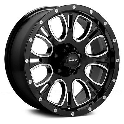 17x9 Helo Wheels -12 | 8x165.1 | 125.5 He879 Gloss Black With Milled Accents #car #truck #parts #wheels, #tires #wheel #lugs #he87979080312n