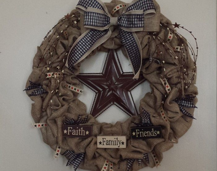 25 best ideas about primitive wreath on pinterest fall for Burlap ribbon craft ideas