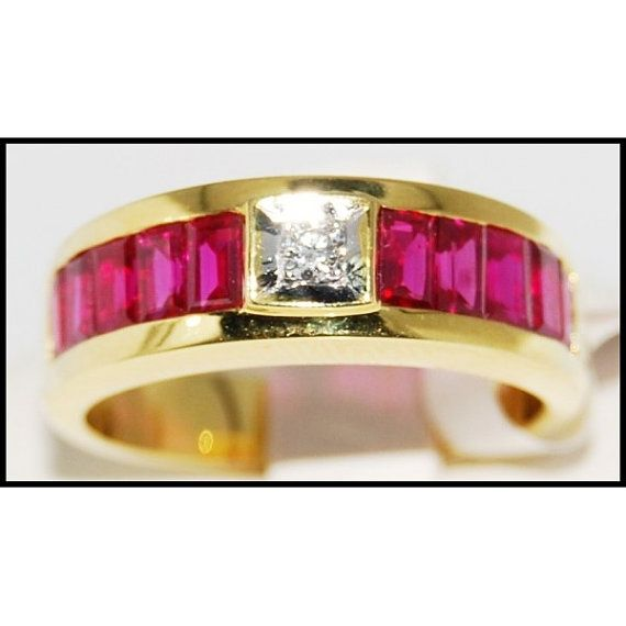 Center Diamond and For Men Ruby Ring 18K Yellow Gold by BKGjewels