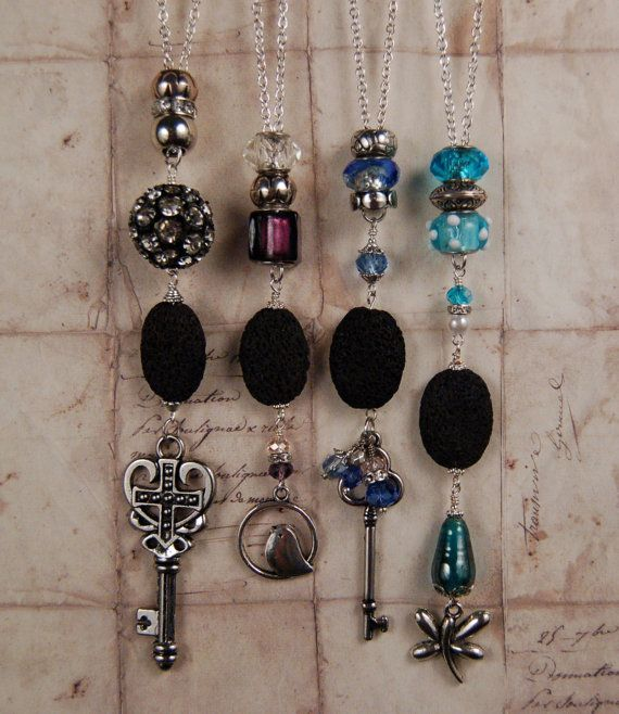 Vintage Charm Necklaces with Lava Stone. Charm Jewelry. Aromatherapy Necklace. Unique. Diffuser Jewelry. Personal Diffuser. Aroma Tools
