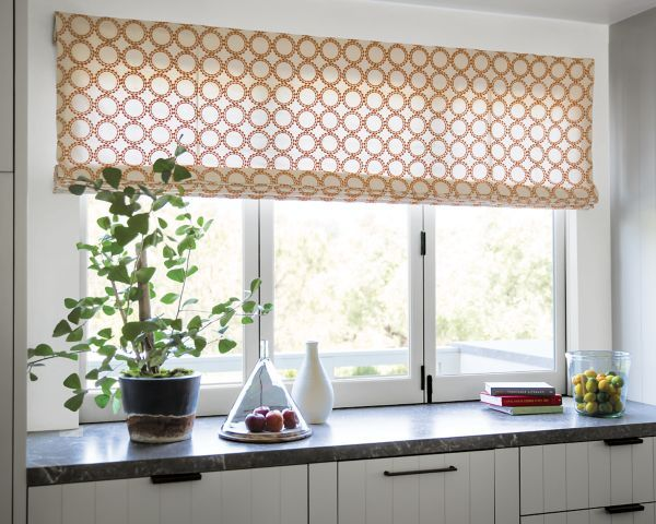 Flat roman fabric shades 16383 unity tangerine smith for Fabric shades for kitchen windows