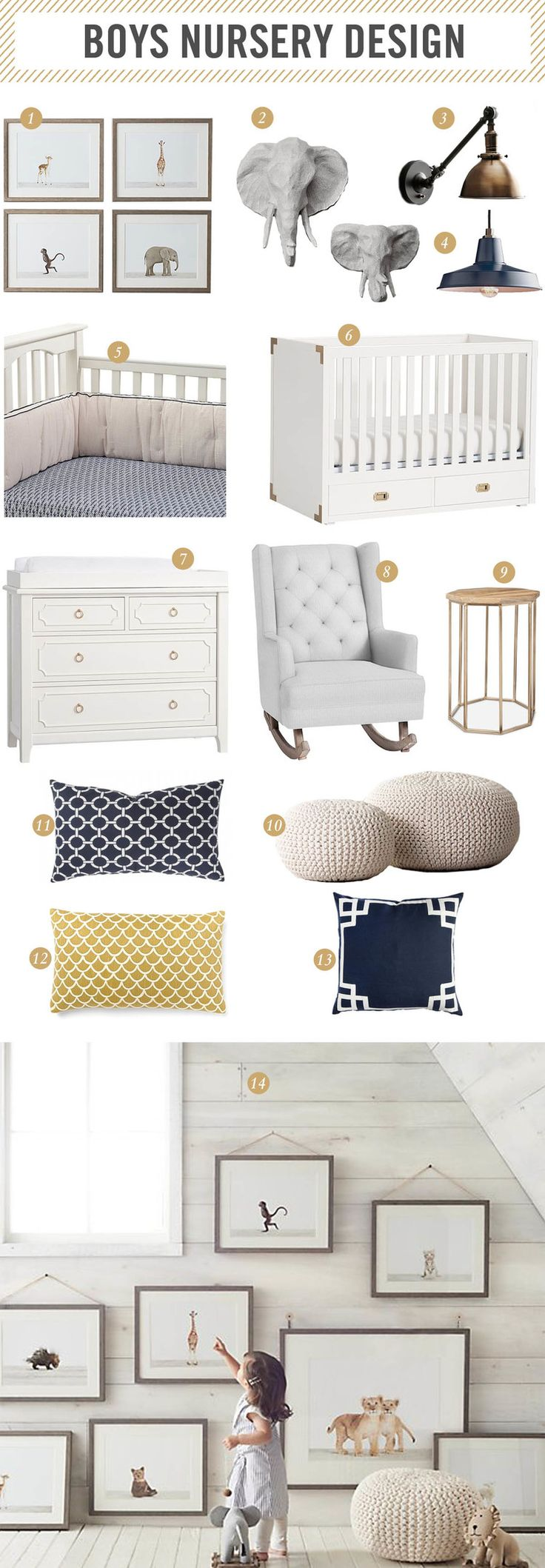| baby boy nursery design inspiration | color palate - tan instead of yellow