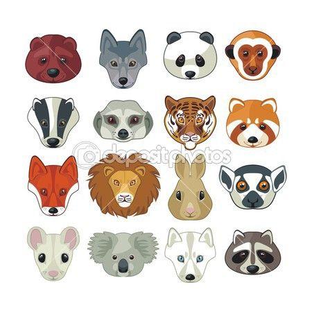 Zvířecí hlavy sada — Stocková ilustrace #30975761