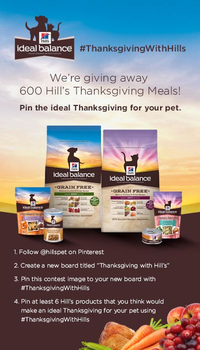 Pin for your chance to win 1 of 600 Hill's Ideal Balance Thanksgiving meals for your pet! #ThanksgivingWithHills