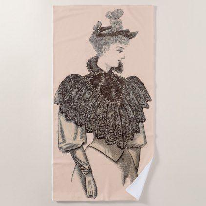 1897 Victorian woman print Beach Towel - antique gifts stylish cool diy custom