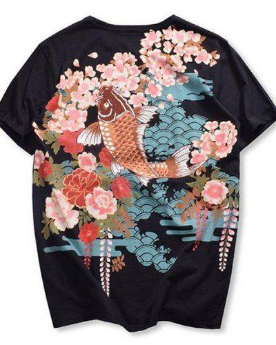 23b84af6 Embroidered Japanese Koi fish t shirt for men carp tattoo Cherry blossom tee  XXXL