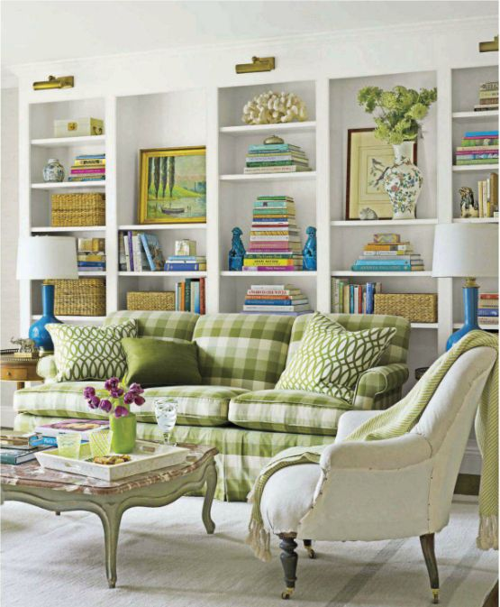 love the green & white (not so much the checked sofa)