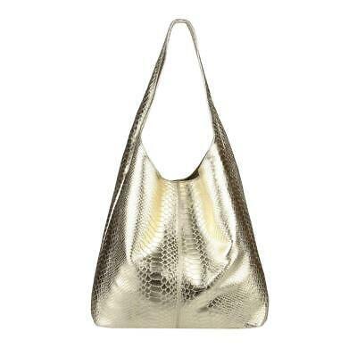 ITAL DAMEN LEDER HAND-TASCHE Shopper Schultertasche Hobo-Bag Metallic Silber: EU…