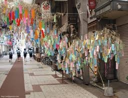 You can find the slips of paper with wishes written on them all over Japan around Tanabata, not just at the matsuri.