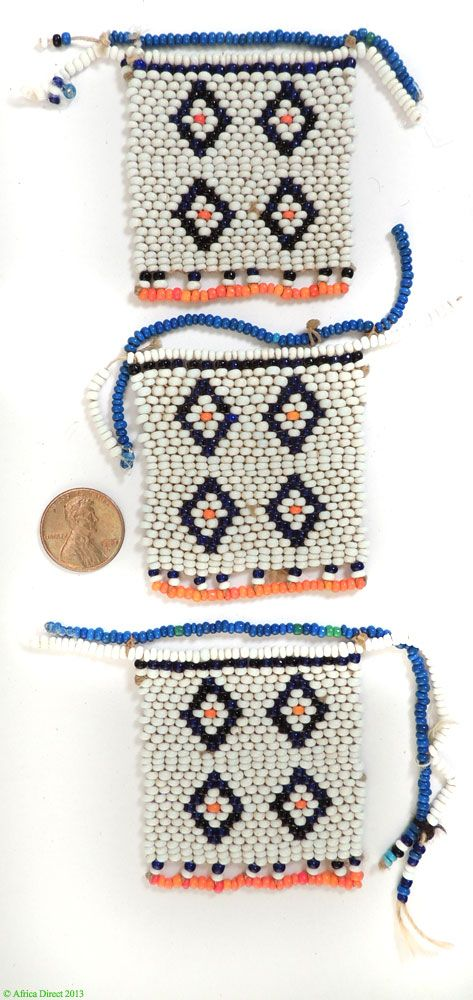 3 Xhosa Beaded Love Letters White Blue and Orange South African Type of Object Beadwork Country of Origin South Africa People Xhosa Materia...