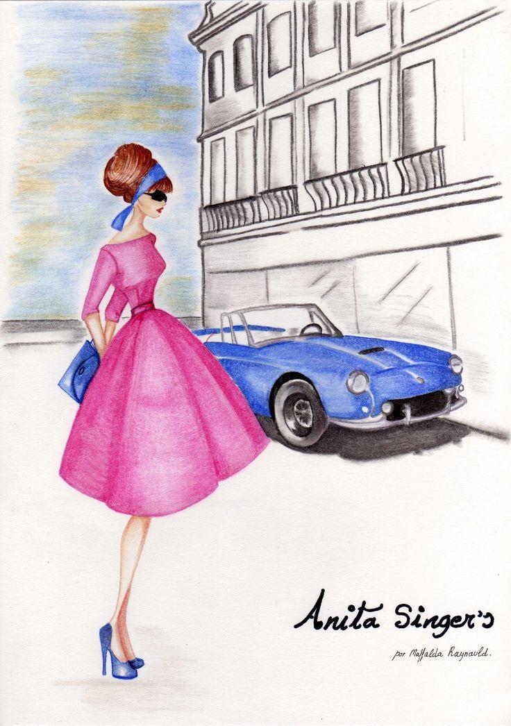 Ilustración Vestido Mamen. https://www.facebook.com/pages/Anita-Singers/565541916806170#!/pages/Anita-Singers/565541916806170