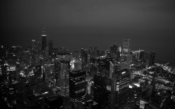 Black and white city at night - InspiringWallpapers.net
