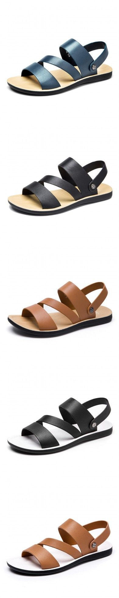 """Golden Even Shoe Summer Sandals Genuine Leather Skid  Breathable Casual Male Sandals """"Cheap Wedge Sandal, Flip-flops United States Of America"""" Summer Sandals Genuine Leather Skid  Breathable Casual Male Sandals."""