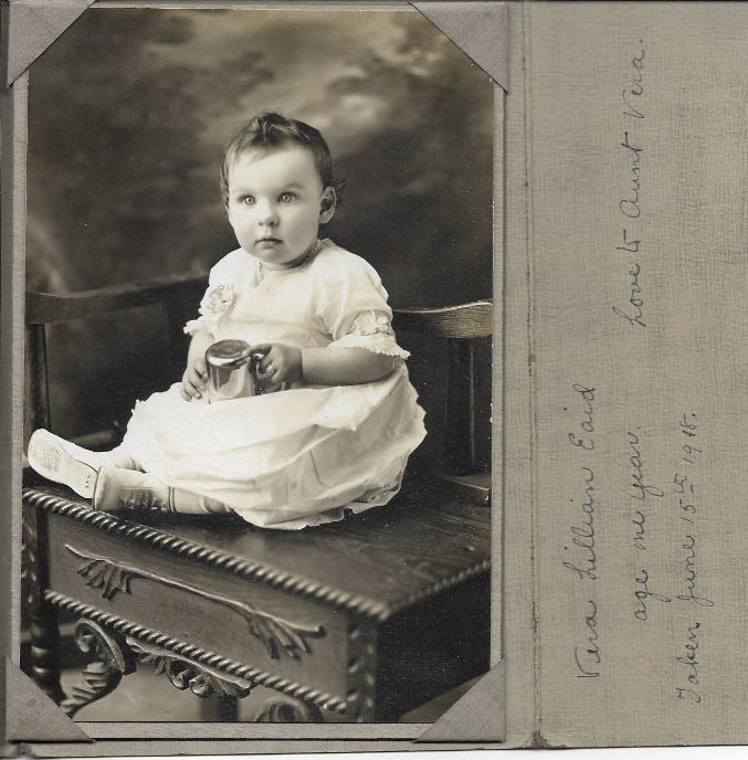 This is Vera Lilliam Eaid. Born 15 JUNE 1917 • King County, Washington, USA. Date of Death: 13 JULY 1992 California, USA. Her parents were Clayton Thomas Eaid & Grace Eugene Hill.  I have two Cabinet Cards for Vera Lillian Eaid. Age 1 Year. Taken 15 June 1918.  Found photo at Etta's Attic Antique Store in Bellingham Washington.