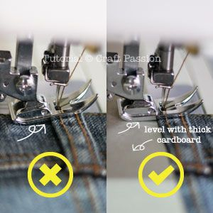Astuce pour coudre plus easiily tissu épais - utiliser du carton pour élever arrière du pied.