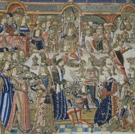 Feast of King Ahasuerus and Ester depicted as a contemporary Burgundian court banquet.