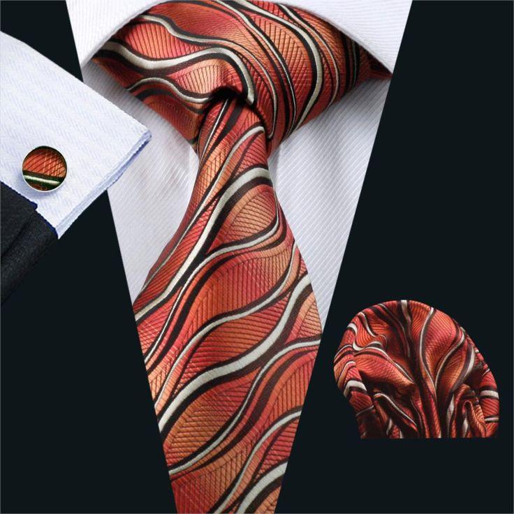 2016 Men`s Tie Red Classic Novelty Silk Jacquard Woven Gravata Necktie Hanky Cufflinks Set For Business Wedding Party FA-1176