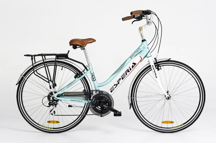 The Esperia Partner in Celeste Green - with 24 gears, mudguards and rack you don't need to add a thing