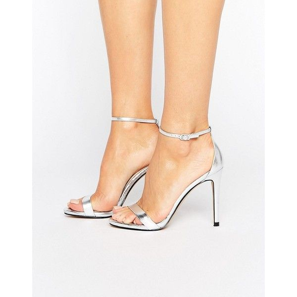 Steve Madden Stecy Silver Heeled Sandals ($84) ❤ liked on Polyvore featuring shoes, sandals, silver, silver heeled sandals, wedge heel sandals, ankle strap heel sandals, open toe wedge sandals and silver platform sandals