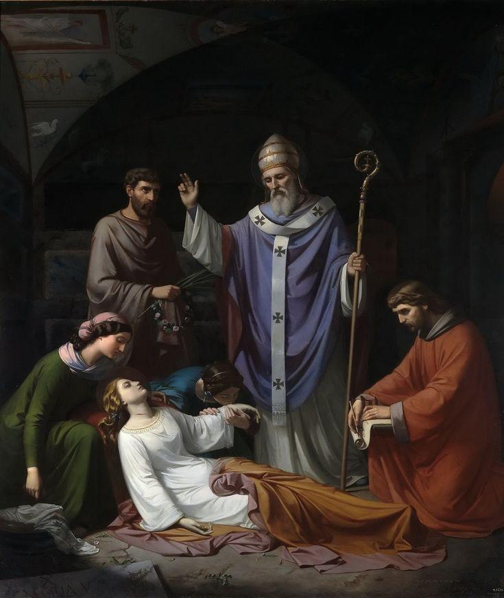 Захоронение святой Цецилии в катакомбах Рима. Luis de Madrazo y Kuntz (Spanish, 1825