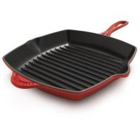 Le Creuset® Flame Square Grill Pan - HandCrafted   Le Creuset grill pans are sand-cast, painstakingly polished and finished by hand, then sprayed with two coats of enamel and fired twice. No other procedure yields cookware that so evenly conducts and retains heat.