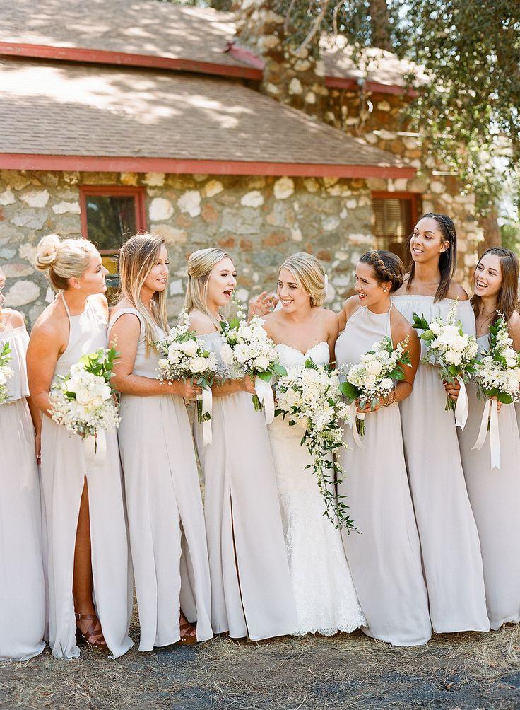 Bridesmaids In Long Soft Grey Dresses