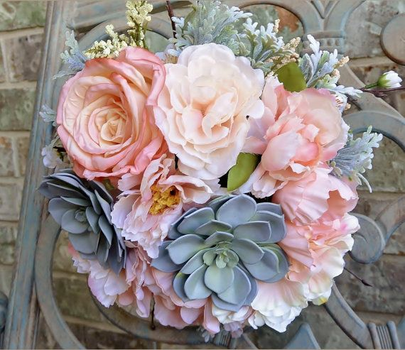 Salmon Succulent Bouquet by BOUKAYSBYKAY on Etsy