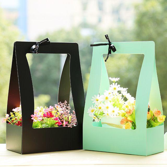 Цветочная корзина Бумага коробке 5 шт. Портативный цветы Упаковочная коробка Водонепроницаемый флорист свежий цветок сумка в зеленый черный, розовый