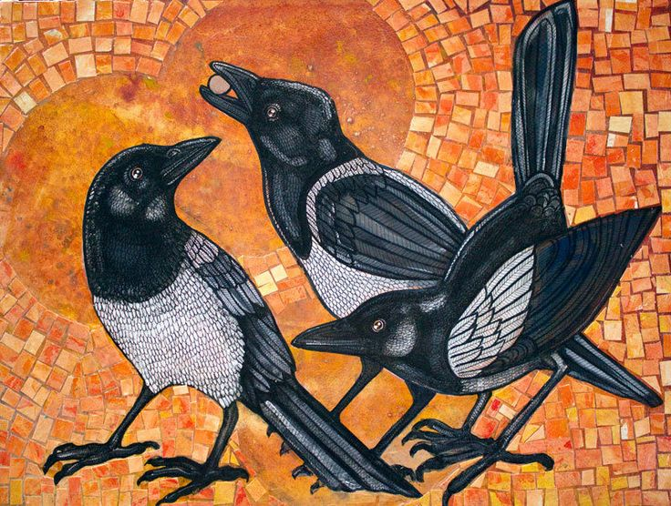 Three Magpies Original Artwork by Lynnette Shelley