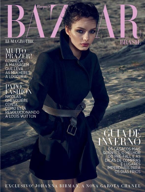 awesome Luma Grothe models winter style for Harper's Bazaar Brazil July 2015  [Cover]