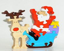 Wooden Puzzle Santa Сlaus. Wooden handmade toys, wooden animals, Natural eco friendly, waldorf toy, education children, kids game