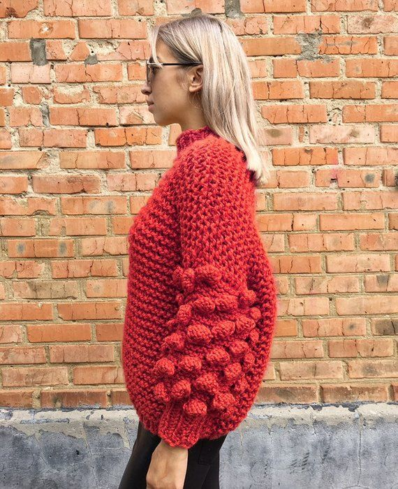dcb248099cb5 Red Chunky arm knit sweater - handmade sweater Knit sweater with ...